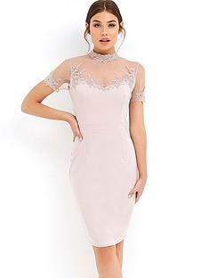 little-mistress-short-sleeve-lace-trim-midi-dress-minknbsp