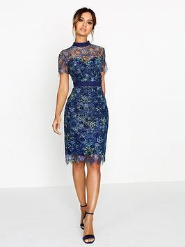 paper-dolls-printed-crochet-lace-high-neck-dress