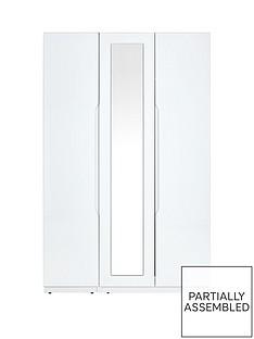 Monaco High Gloss 3 Door Mirrored Wardrobe