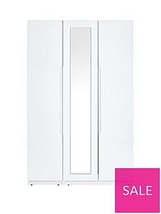 Monaco High Gloss 3 Door Mirrored Wardrobe