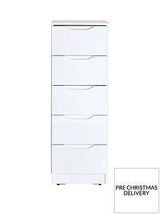 Monaco High Gloss Ready Assembled 5 Drawer Tallboy