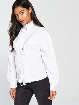 Fashion Union Marika Ruffle Neckline White Shirt