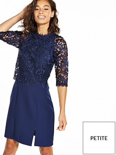 little-mistress-petite-mini-lace-overlay-dress