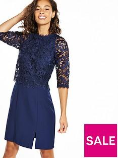 little-mistress-petite-mini-lace-overlay-dress