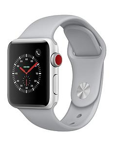 Apple Watch Series 3 (GPS + Cellular), 38mm Silver Aluminium Case with Fog Sport Band