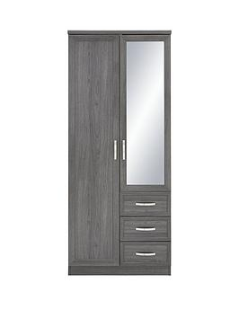 camberley-2-door-3-drawer-mirrored-wardrobe