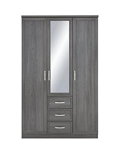 camberley-3-door-3-drawer-mirrored-wardrobe