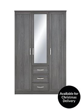 camberley-3-door-3-drawer-mirrored-wardrobe