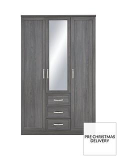 Camberley 3 Door 3 Drawer Mirrored Wardrobe