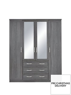 Camberley 4 Door 3 Drawer Mirrored Wardrobe