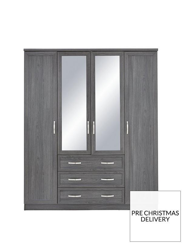 low cost fb077 a037c Camberley 4 Door 3 Drawer Mirrored Wardrobe