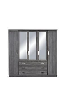 camberley-5-door-3-drawer-mirrored-wardrobe