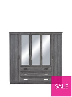 Camberley 5 Door 3 Drawer Mirrored Wardrobe