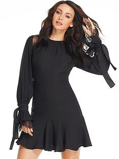 michelle-keegan-tie-lace-ruffle-sleeve-dress-black