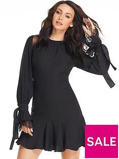 michelle-keegan-tie-lace-ruffle-sleeve-dress-black