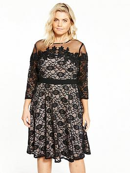 Little Mistress Curve Lace Fit And Flare Dress