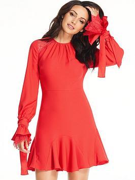 michelle-keegan-tie-lace-ruffle-sleeve-dress-red