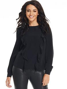michelle-keegan-ruffle-front-tie-back-blouse