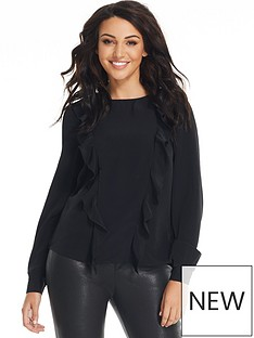 michelle-keegan-ruffle-front-tie-back-blouse