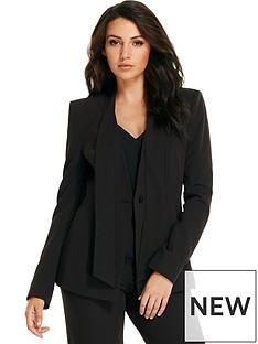 michelle-keegan-tie-neck-suit-jacket