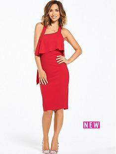 myleene-klass-ruffle-back-bodycon-dress-red