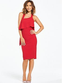 Myleene Klass Asymmetric Neck Ruffle Back Dress - Red