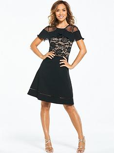 myleene-klass-lace-skater-dress-black