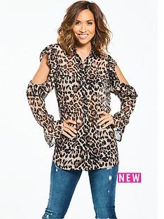 cold-shoulder-leopard-print-blouse