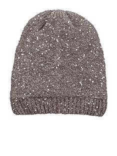 oasis-grey-knit-sequin-knit-hat
