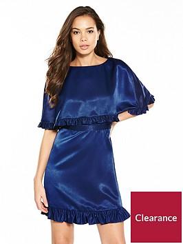 v-by-very-satin-ruffled-cape-dress-blue