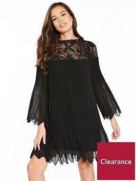 v-by-very-pleated-lace-insert-swing-dress