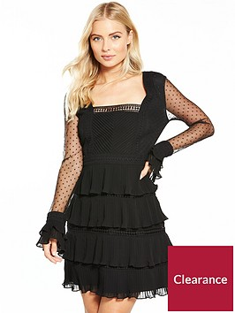v-by-very-polka-dot-lace-ruffle-mini-dress-black