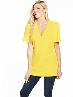 v-by-very-ruffle-sleeve-tunic-blouse-yellow