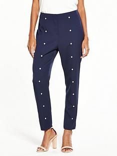 v-by-very-high-waisted-pearl-detail-trouser-navy