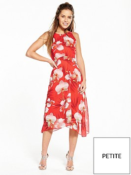 wallis-petite-coral-orchid-hanky-hem-dress
