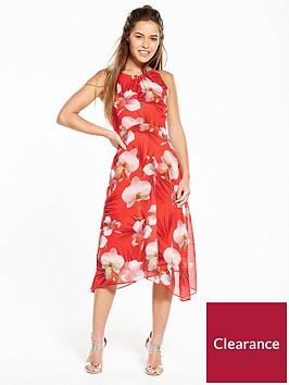 wallis-petite-coral-orchid-hanky-hem-dress