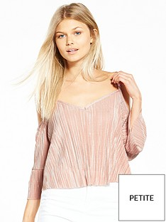 miss-selfridge-miss-selfridge-petite-cold-shoulder-plisse-top