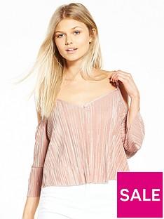 miss-selfridge-petite-cold-shoulder-plisse-top