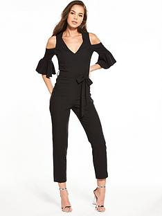 miss-selfridge-flute-sleeve-deep-plunge-jumpsuit