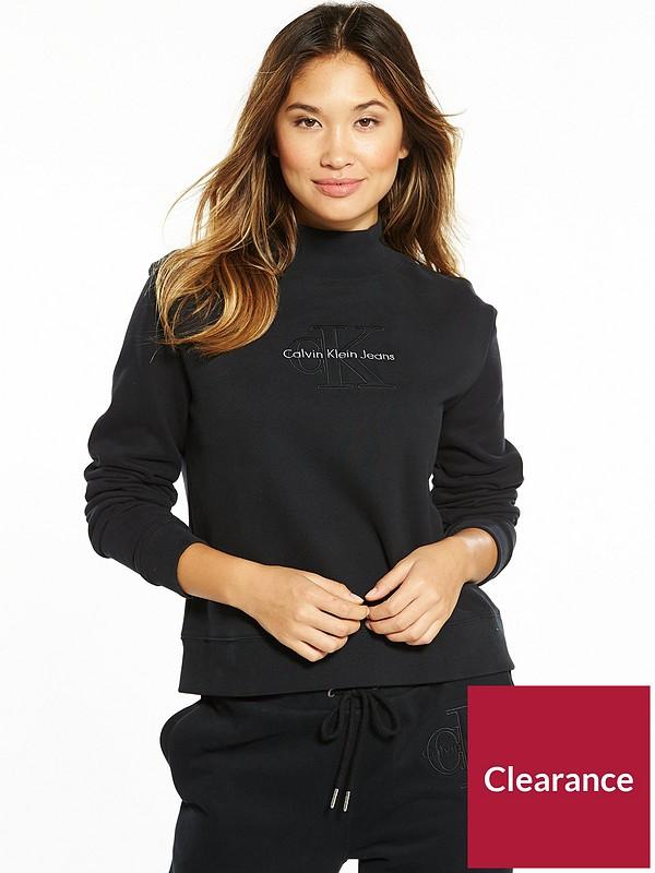 7a1d309e95bf36 Calvin Klein Jeans Hazel True Icon Long Sleeve Sweat Top - Black ...