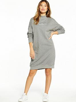 Calvin Klein Jeans Denver True Icon Long Sleeve Dress - Mid Grey Heather