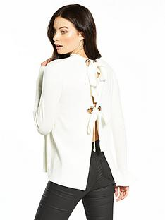 v-by-very-eyelet-tie-open-back-fluted-cuff-jumper