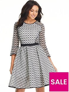 michelle-keegan-monochrome-printed-mesh-prom-dress
