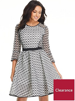michelle-keegan-monochrome-printed-mesh-prom-dress
