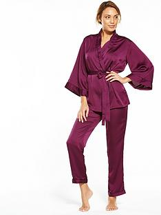 v-by-very-short-sleeve-kimono-satin-pyjama-set