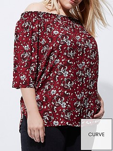 river-island-ri-plus-red-floral-bardot-top