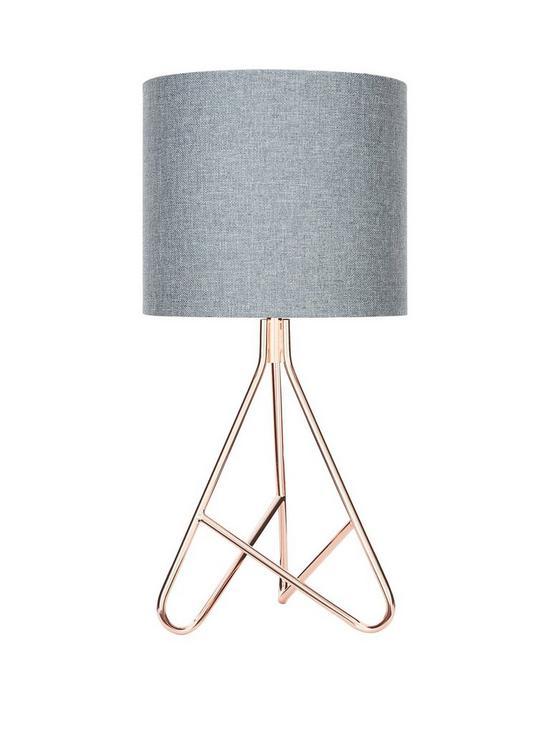 Caleb copper tripod table lamp very co uk