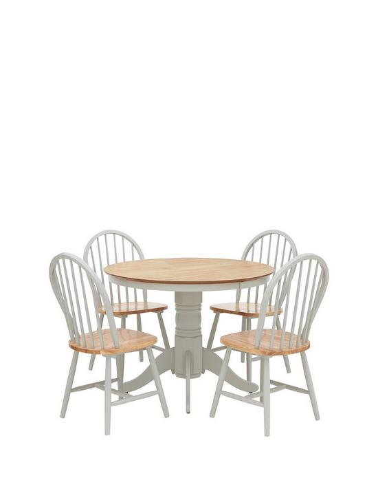 Kentucky 100 Cm Round Dining Table 4 Chairs Very Co Uk