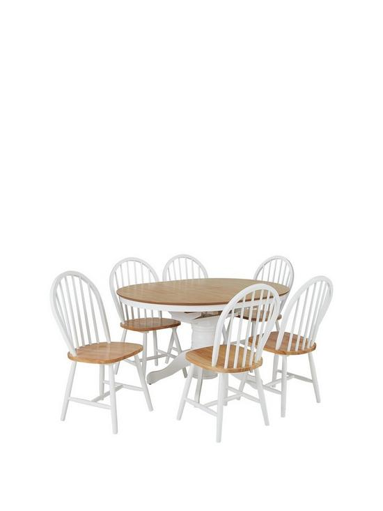 Kentucky 100 130 Cm Extending Round Dining Table 6 Chairs