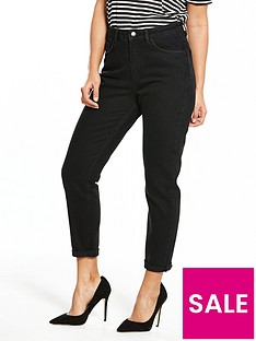 v-by-very-washed-black-rip-knee-mom-jean